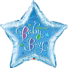 Blue Holographic 'Baby Boy' Star Foil Balloon